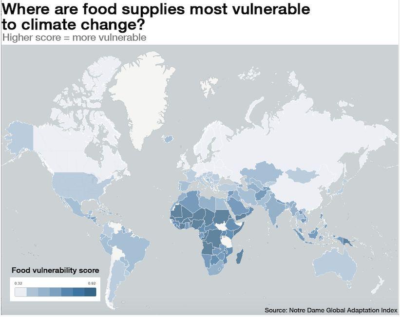 Карта самых голодающих стран мира