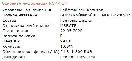 RСМХ ETF - бПИФ на российские голубые фишки